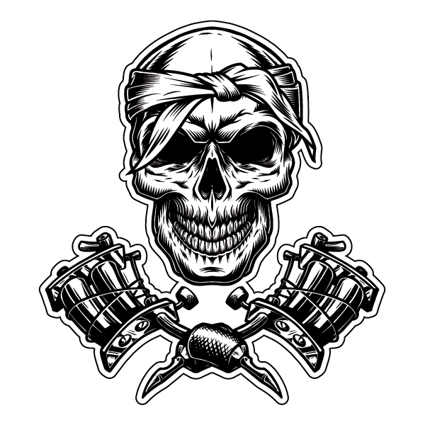 Наклейка Череп мастера татуировок, фото 1