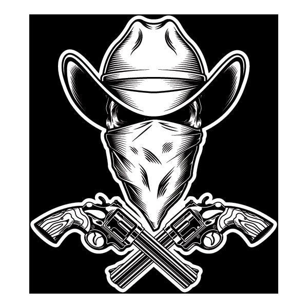 Наклейка Череп в белой ковбойской шляпе, фото 1