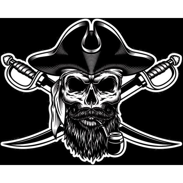 Наклейка Череп  пирата с черной бородой с двумя клинками, фото 1