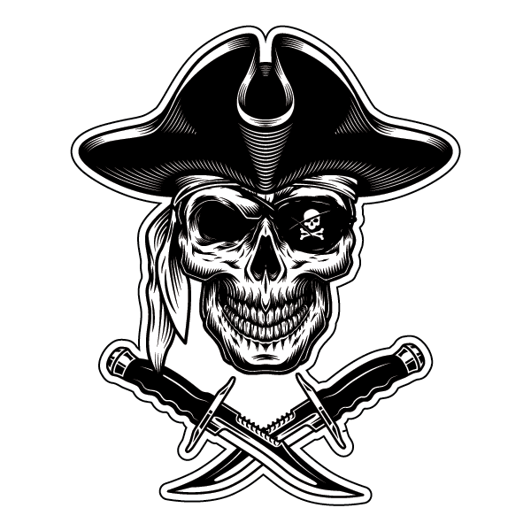 Наклейка Череп пирата с ножами, фото 1