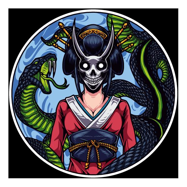 Наклейка Японская женщина в маске смерти-215, фото 1