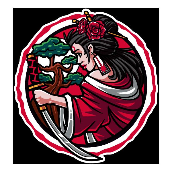 Наклейка Японская женщина с мечом-217, фото 1