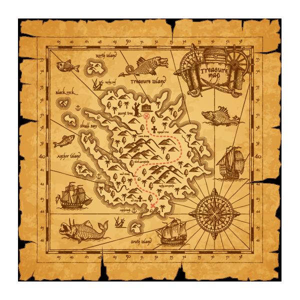 Наклейка Пиратская карта острова сокровищ-084, фото 1